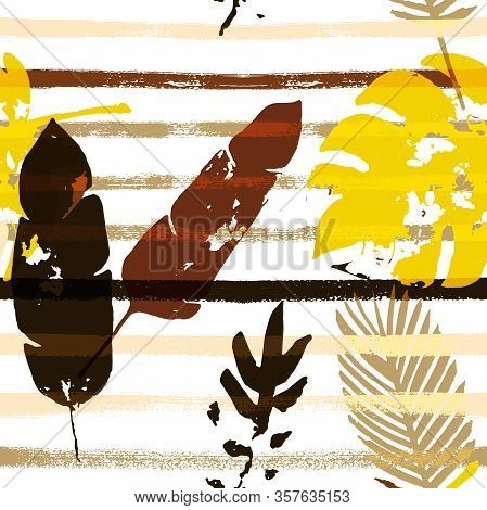 Sailor Stripes Vector Seamless Pattern, Brown Yellow Earth Tone Exotic Fabric. Adventure Jungle Leav