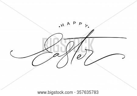 Happy Easter Logo Vintage Vector Calligraphy Text. Christian Hand Drawn Lettering Poster For Easter.