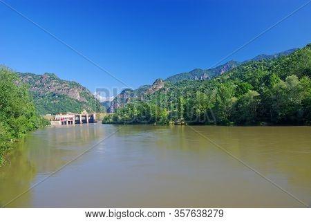 Olt River Dam At Cozia And Cozia National Park In Romanian Carpathians