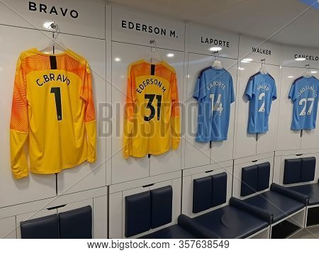 Manchester, Uk - February 03, 2020: Etihad Stadium Is Manchester City Footbal Team Stadium. Player C