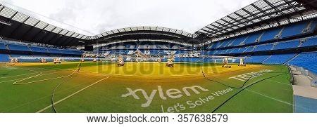 Manchester, Uk - February 03, 2020: Etihad Stadium Is Manchester City Footbal Team Stadium. Water Pu