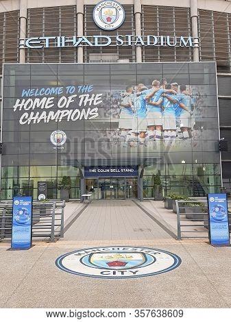 Manchester, Uk - February 03, 2020: Etihad Stadium Is Manchester City Footbal Team Stadium