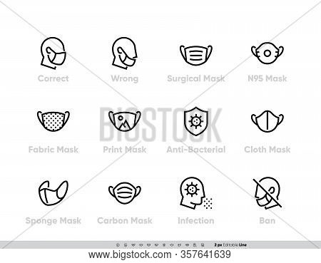 Protective Medical Face Mask Icon Set. Safety Breathing Masks Surgical, Flu Virus Epidemic Preventio