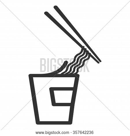 Instant Noodles With Chopsticks, Line Art Food Icon