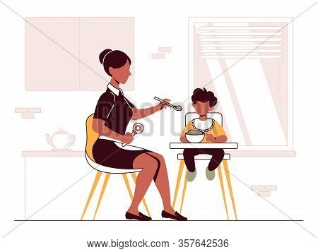 Vector Illustration Of A Babysitter Who Takes Care Of A Baby