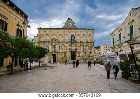 Matera, Italy - May 6, 2018: National Museum Of Medieval Modern Art With Clock Pascoli Museo Naziona
