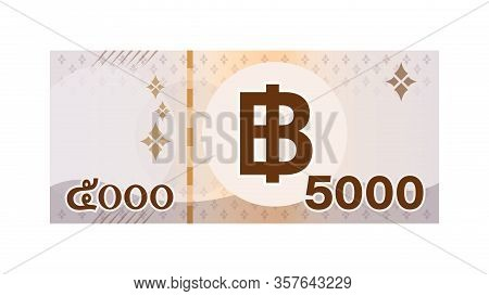 5000 Baht Thai Banknote Money Isolated On White, Thai Currency Five Thousand Thb, Money Thailand Bah