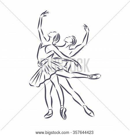 Art Sketched Beautiful Young Ballerina In Ballet Pose. Vector.