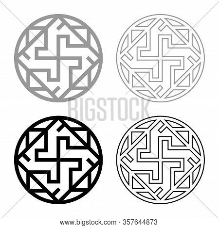 Valkyrie Varangian Sign Valkiriya Slavic Symbol Icon Outline Set Black Grey Color Vector Illustratio
