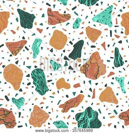 Terazzo Seamless Pattern With Marble And Malachite
