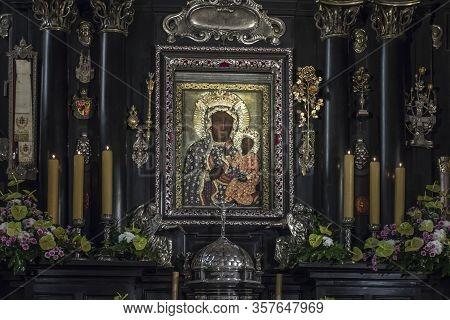Czestochowa, Poland, March 19, 2020: Jasna Gora Monastery: Chapel And Wonderful Image Of The Black M