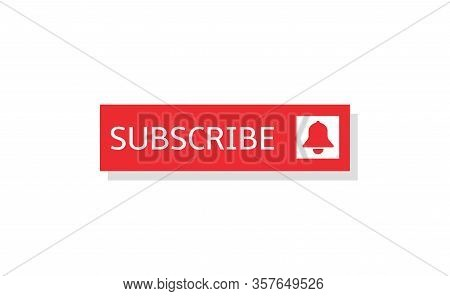 Subscribe Banner. Subscribe Red Button With Bell Sign