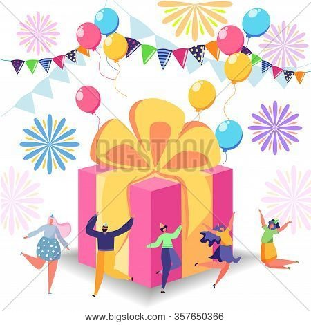 Happy Birthday Celebration Concept With Friends, Box With Gift And People. Anniversary Confetti With
