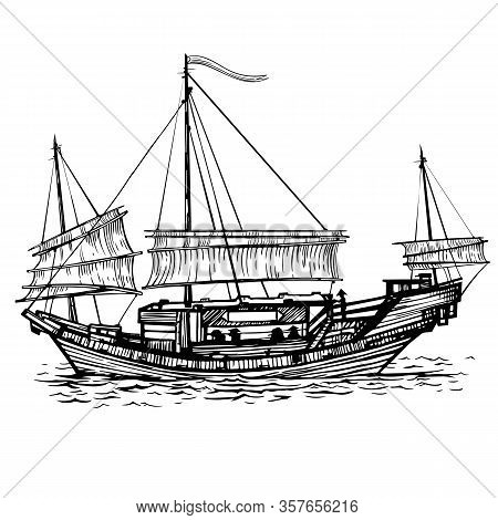 Vector Sketch Chinese Sailing-vessel With Lowered Sailing In The Sea In The Ink Line Style. Hand Dra