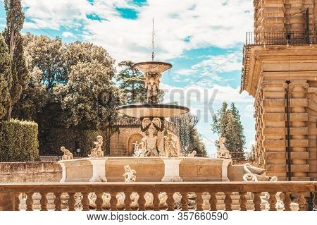 Fountain In The Boboli Gardens, Florence, Italy. Travel And Vacation Concept. Famous Architectural M