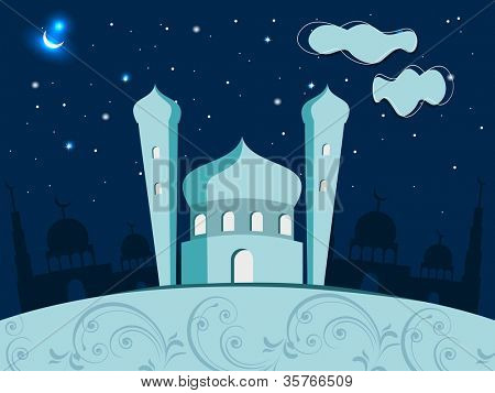 Eid Mubarak illustration with shiny moon and Mosque and Masjid. EPS 10. poster