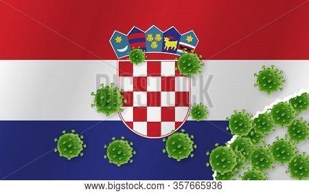Flag Of Croatia With Outbreak Virus. Epidemic Or Pandemic Coronavirus, Sars, Mers, Influenza...