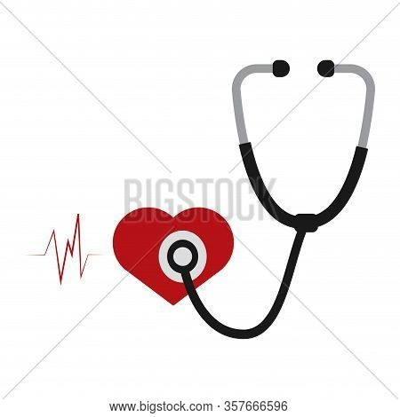 Isoalted Stethoscope Icon. Hearth And Electrocardiogram Waves. Medical Icon - Vector