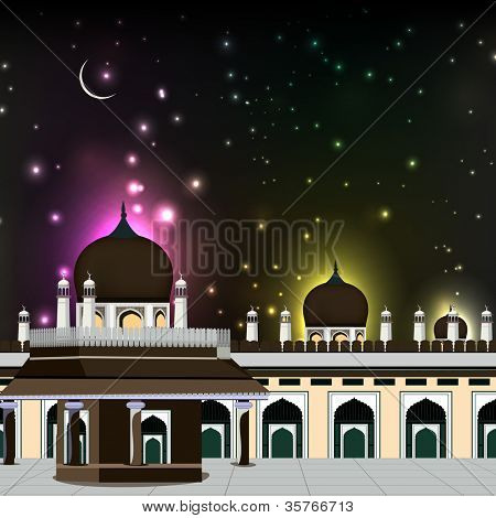 Eid Mubarak background with Mosque and Masjid and shiny moon in night. EPS 10. poster
