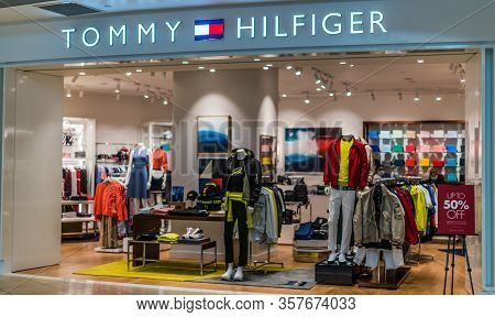 Singapore - Mar 5, 2020: Front Entrance To Tommy Hilfiger Store In Singapore Shopping Mall