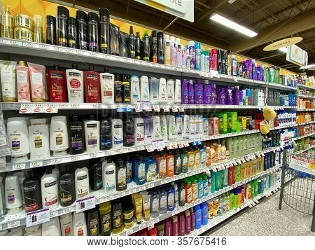 Orlando,fl/usa - 3/4/20:  Health And Beauty Aisle Of A Publix Grocery Store Ready To Be Purchased By