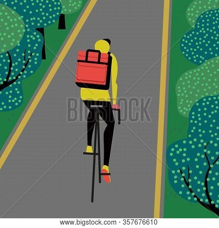 Noncontact Food Delivery Rider Vector Poster. Contactless Delivery Service Online Takeout Orders Car