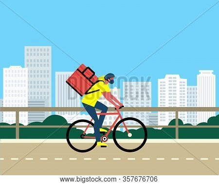 No-contact Food Delivery Rider Vector Poster. Contactless Delivery Service Online Takeout Orders Car