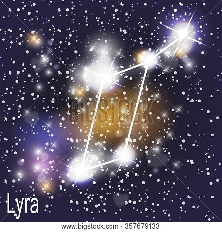 Lyra Constellation With Beautiful Bright Stars On The Background Of Cosmic Sky Vector Illustration.