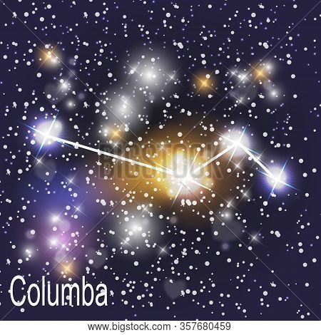 Columba Constellation With Beautiful Bright Stars On The Background Of Cosmic Sky Vector Illustratio