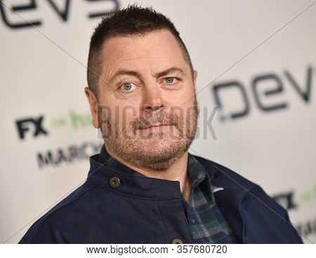 LOS ANGELES - MAR 02:  Nick Offerman Nick Offerman arrives for FX's Limited Series 'Devs' Los Angeles Premiere on March 02, 2020 in Hollywood, CA