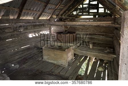 Interior Of Old Water Mill For Grinding Grain Near Gârnic, Banat, Romania