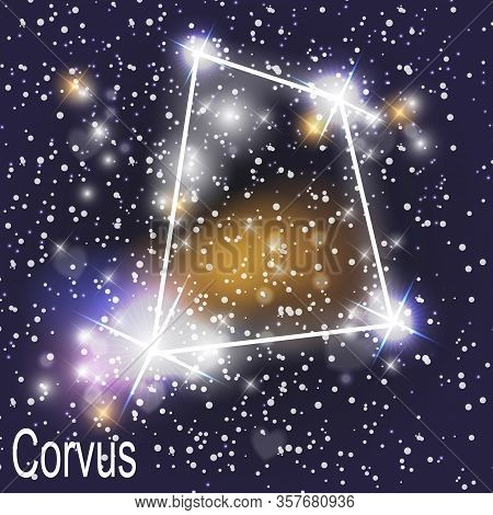 Corvus Constellation With Beautiful Bright Stars On The Background Of Cosmic Sky Vector Illustration