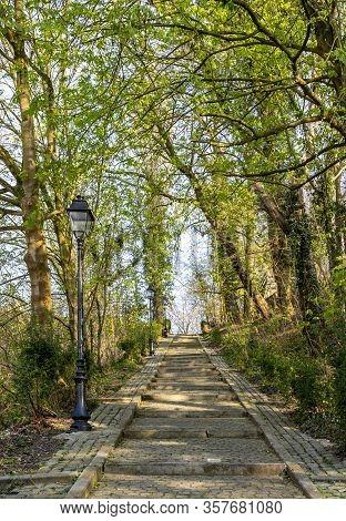 Image Of A Cobblestone Footpath Near Muur Van Geraardsbergen Located In Belgium. On This Road Every