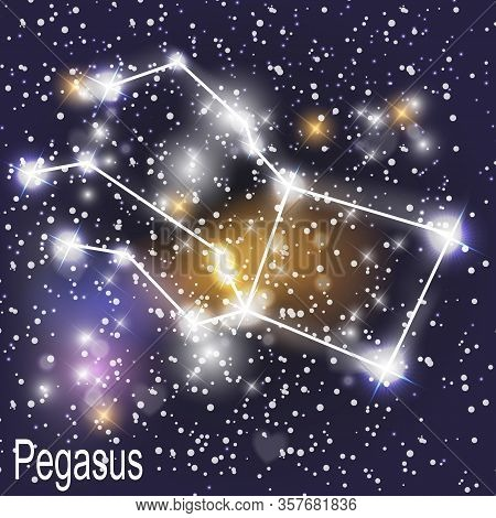 Pegasus Constellation With Beautiful Bright Stars On The Background Of Cosmic Sky Vector Illustratio