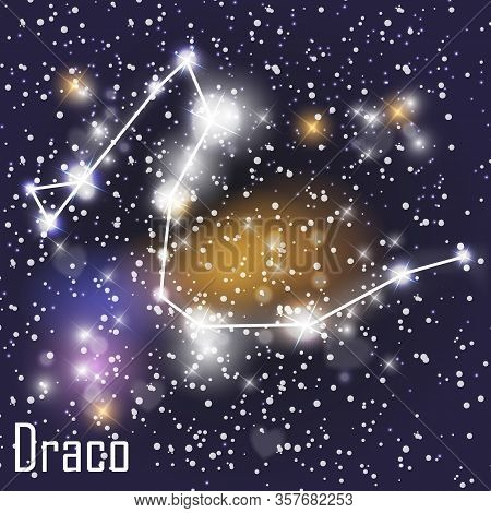 Draco Constellation With Beautiful Bright Stars On The Background Of Cosmic Sky Vector Illustration