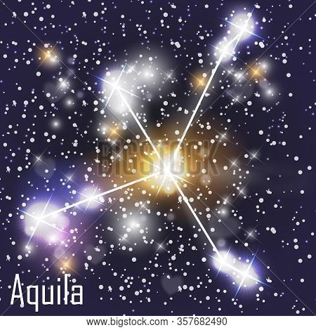 Aquila Constellation With Beautiful Bright Stars On The Background Of Cosmic Sky Vector Illustration