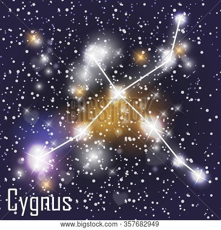 Cygnus Constellation With Beautiful Bright Stars On The Background Of Cosmic Sky Vector Illustration