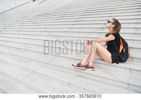 Follow Your Dream It Knows Way. Tired Traveler Relax On Stairs. Pretty Girl Dream And Fantasy. Cute