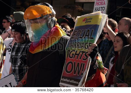 Brisbane, Qld Australia - August 11 : Unidentified Man Holding Equal Rights Sign At Protest On Augus