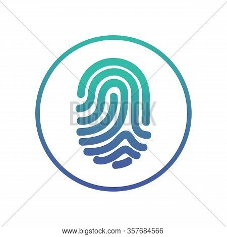 Circle Fingerprint Icon Design For App. Digital Touch Scan Identification Or Electronic Sensor Authe