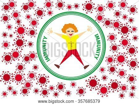 Joyful Cartoon Boy In The Center Of The Circle With The Inscription - Immunity. Around The Molecule
