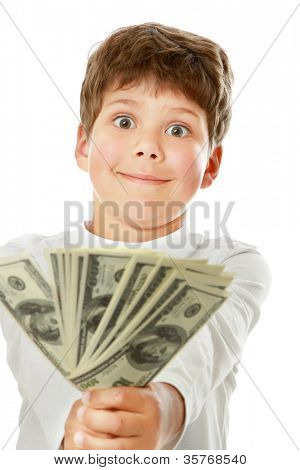 A smiling little boy is counting money - on white background