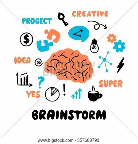 Brainstorm. Vector Doodle Illustration With Brain, Light Bulb, Key, Puzzle, Speech Bubbles, Phrases,