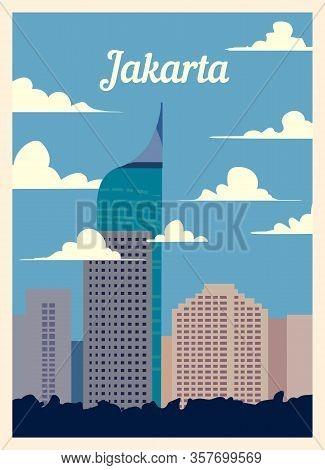 Retro Poster Jakarta City Skyline. Vintage Vector Illustration.