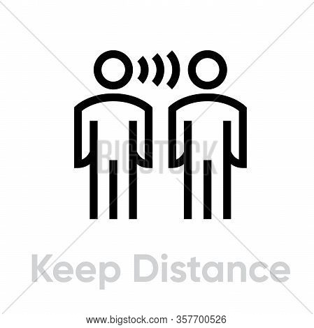Keep Distance Protection Measures Icon. Editable Line Vector.
