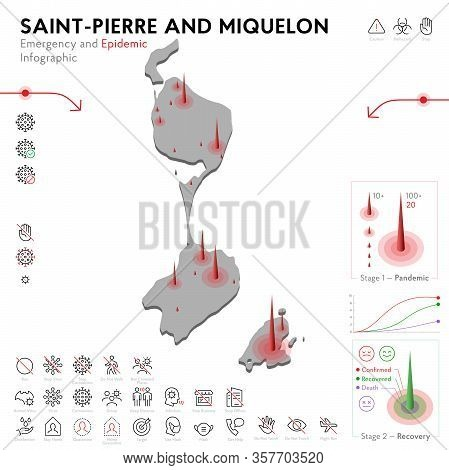 Map Of Saint-pierre Epidemic And Quarantine Emergency Infographic Template. Editable Line Icons For