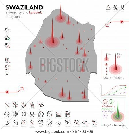 Map Of Swaziland Epidemic And Quarantine Emergency Infographic Template. Editable Line Icons For Pan