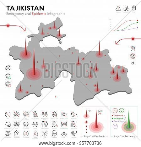 Map Of Tajikistan Epidemic And Quarantine Emergency Infographic Template. Editable Line Icons For Pa