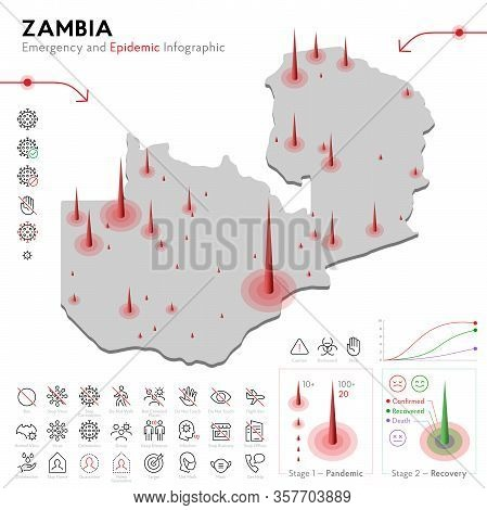 Map Of Zambia Epidemic And Quarantine Emergency Infographic Template. Editable Line Icons For Pandem