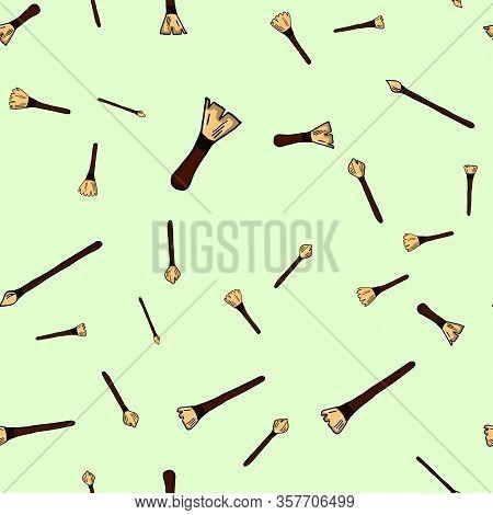Vector Hand Drawn Graphic Fashion Sketch Makeup Brush. Trend Soft Color Glamor Fashion Seamless Patt